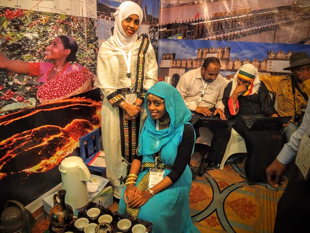 Ethiopian Pavilion at Riyadh Travel Fair 2016 serving Traditional Harari Coffee.