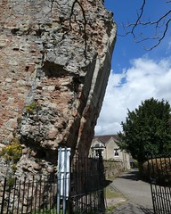 Bridgnorth Castle ruins. Blue skies, fluffy clouds, warm.
