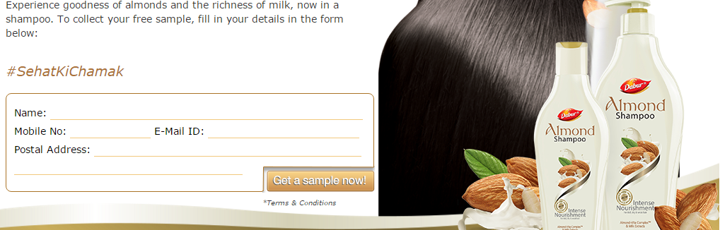 free sample in India - Dabur Almond shampoo