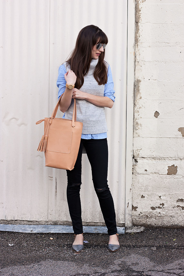 Tan Leather Tote Bag, Minnie and George, Black Jeans, Grey Turtleneck Sweater