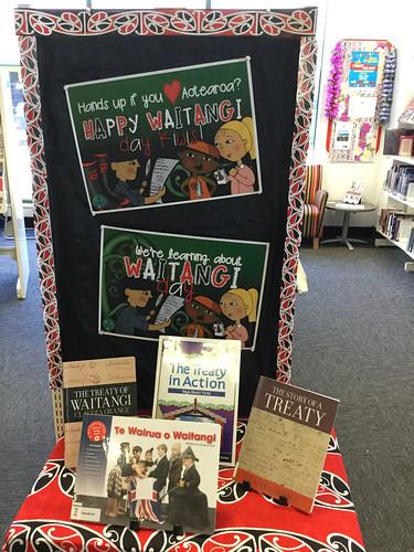 Waitangi Day display at Shirley Library