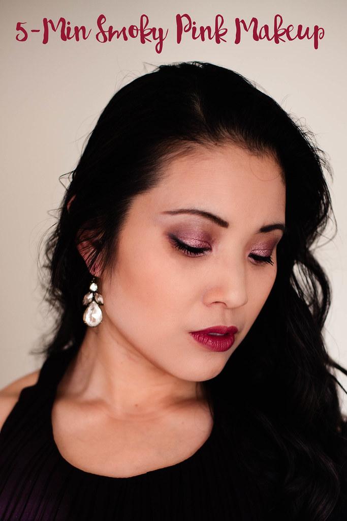 5 minute smoky pink eyeshadow makeup tutorial