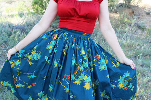 Pinup Girl Clothing Pinup Couture Jenny Skirt in Falling Leaves Print Peasant Top in Red