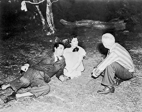 Bringing Up Baby - backstage - Cary Grant, Katharine Hepburn and Howard Hawks