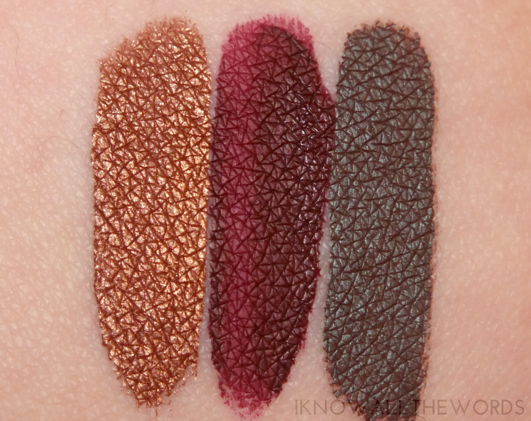 LA Splash dia de los muertos studio shine lip lustre swatches guadalupe, valentine, and catrina