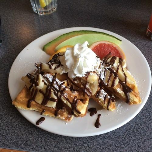 Banana chocolate waffle #yegfood