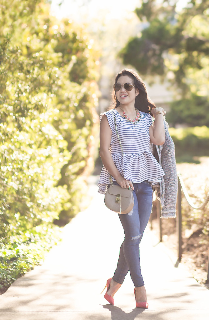 cute & little blog | petite fashion | petite tweed jacket, striped peplum top, petite distressed jeans, m.gemi cammeo coral pumps, small chloe drew bag, statement necklace, ray ban aviators | spring outfit