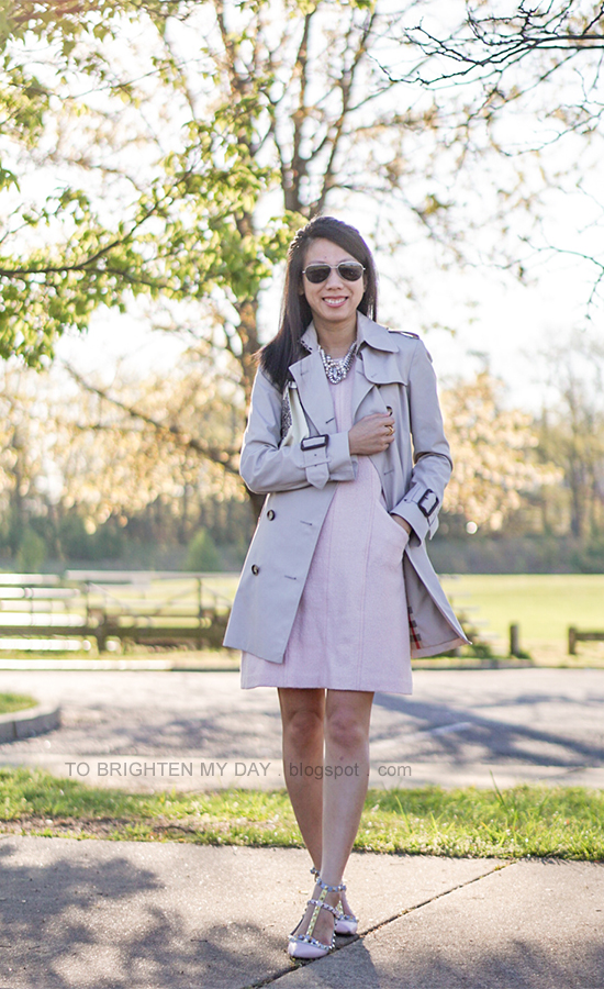 trench coat, pearl statement necklace, pink wool shift dress, lace printed clutch, watercolor studded flats