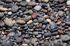 Sandstone and basalt pebbles