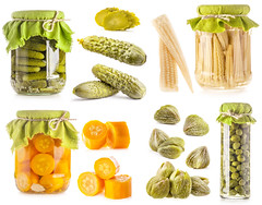 Collection of Glass jars of preserved vegetables i…