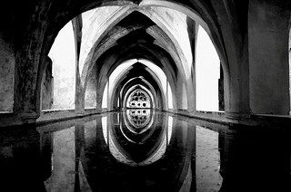 Image of  Royal alcazar of seville. monochrome