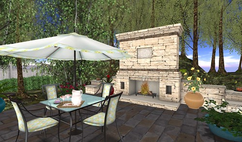 Galland Homes Outdoor Fireplace & BeYou World Patio Set