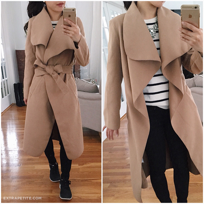 misguided petites camel waterfall wrap jacket