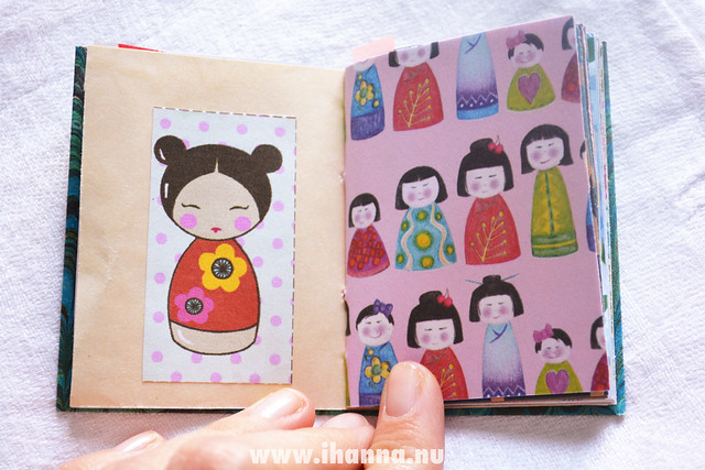 One of the spreads in this miniature notebook by iHanna - Copyright Hanna Andersson