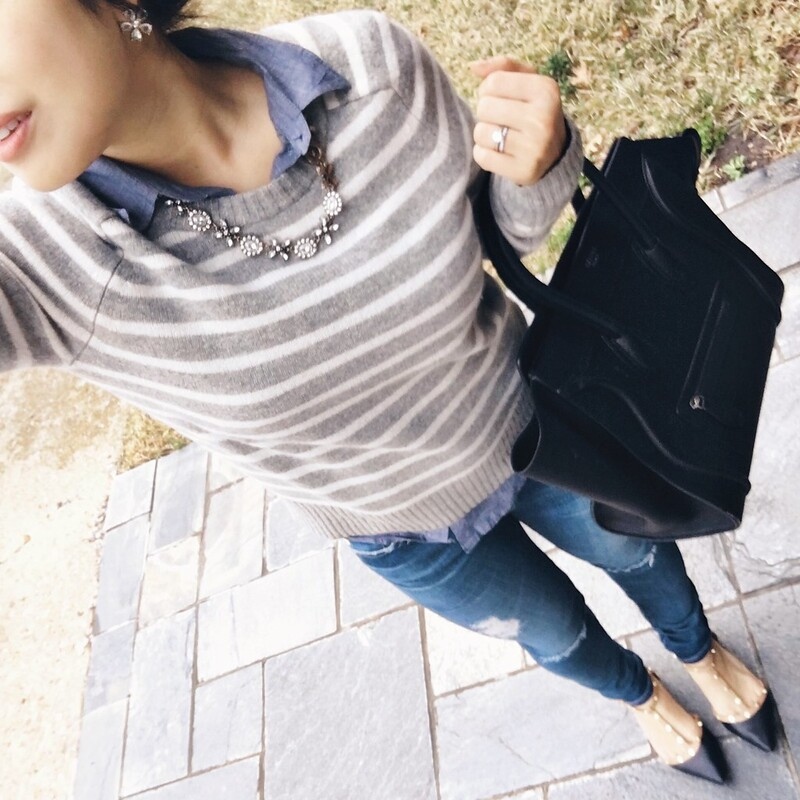 cute & little blog | petite fashion | gray striped sweater, chambray shirt, petite distressed jeans, studded flats, celine tote | outfit