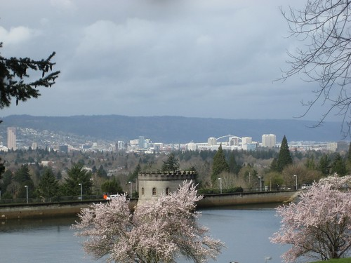 Downtown Portland from Mount Tabor, with a little bit of sunshine