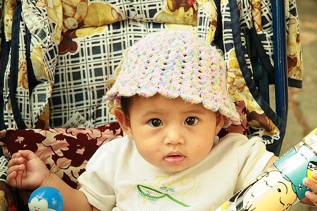 cute baby with knitted hat