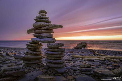 ocean sunset color rocks olddock inuksuk