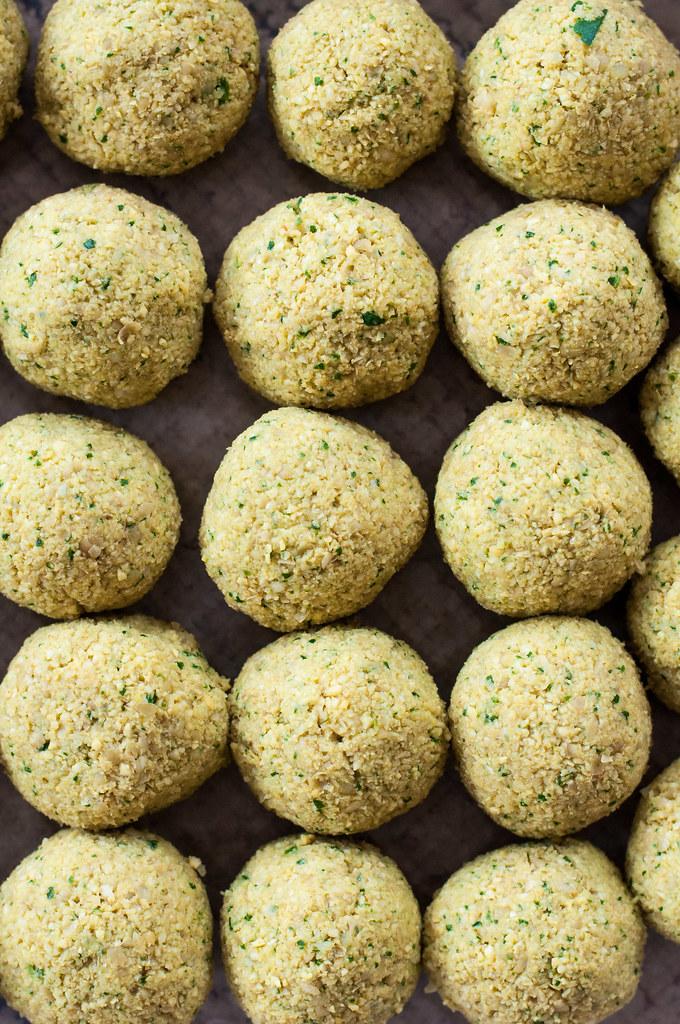 Mini falafel waiting to fry