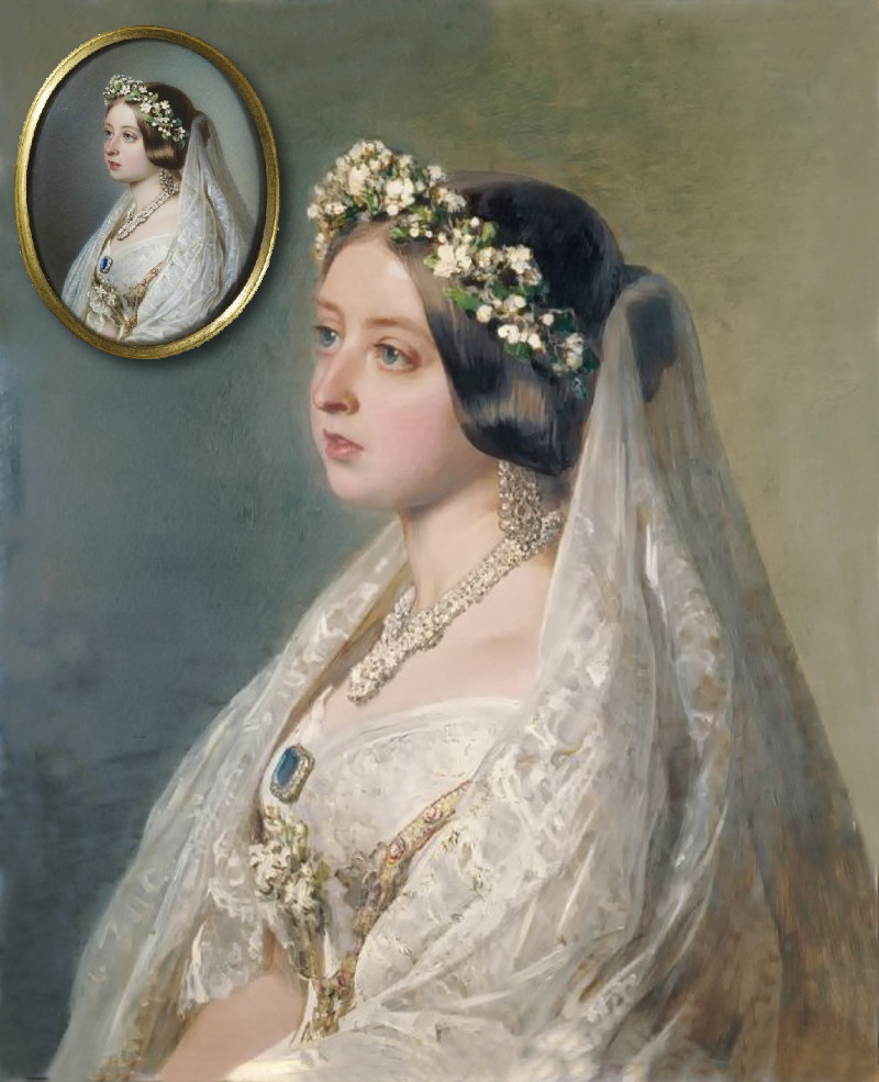 Queen Victoria by Franz Xaver Winterhalter, 1847. Miniature by John Haslem.