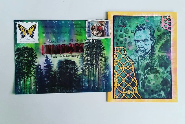 Fantastic mail art received from @kattera22 😀 Thank you dear I love it! #mailartists #received #mailin #IUOMA #mailart #rubberstamped #rubberstampart #northerenlights #VLV
