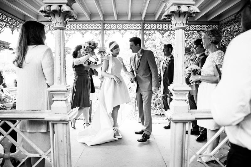 Park wedding with a yellow dress as seen on @offbeatbride #weddings #yellowdress