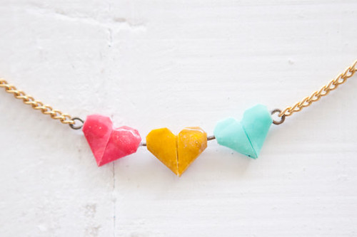 Origami Heart Necklace by Little Ray of Sunflower