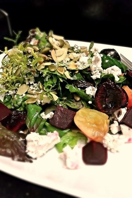 Beet and grape frisee salad