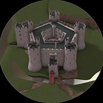 Digital reconstruction created by Chris Jones-Jenkins and Rick Turner, based on detailed archive research, archaeological investigations and applied knowledge of castle construction in the late Middle Ages, 2015.