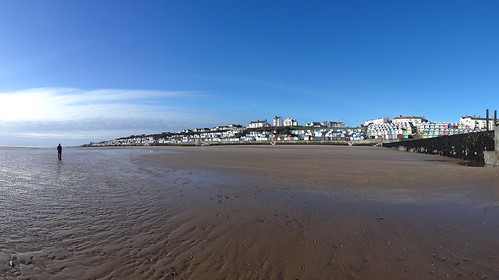 Beach and Beach Huts, Southcliffe Promenade, Walton: Panorama from Winchester Breakwater, south