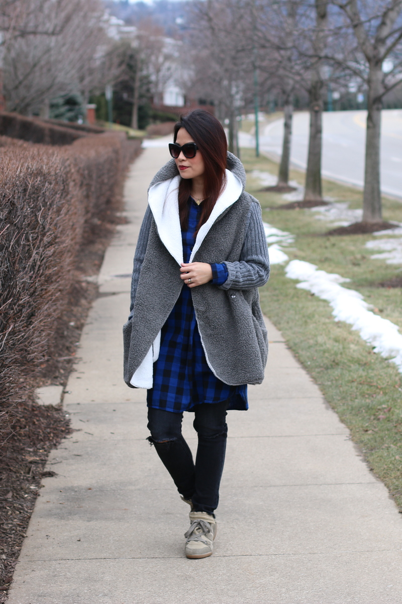 shein sweater coat, black ripped jeans wedge sneakers