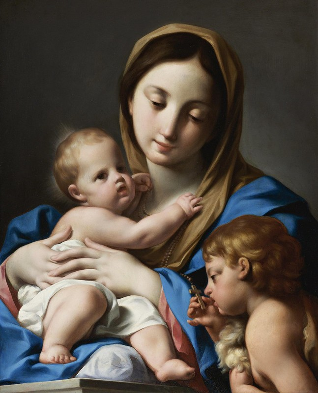 Attributed to Andrea Casali - The virgin and child with Saint John the Baptist
