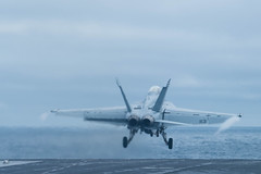 An F/A-18F Super Hornet assigned to Strike Fighter Squaron (VFA) 41 launches from USS John C. Stennis' (CVN 74) flight deck during operations in the South China Sea, March 5. (U.S. Navy/MC3 Kenneth Rodriguez Santiago)