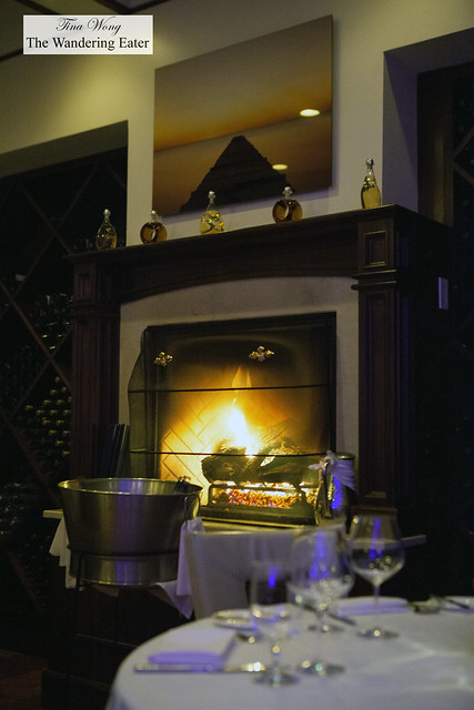 Fireplace at the back of the restaurant