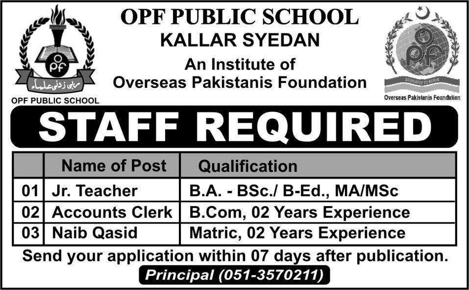 Jobs OPF Kallar Syedan 03-21-2016