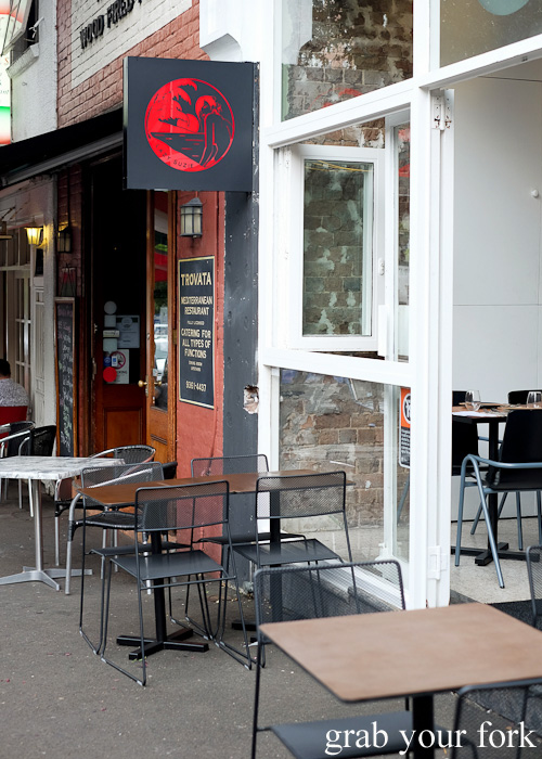 Entrance and outdoor seating at Lazy Suzie, Darlinghurst