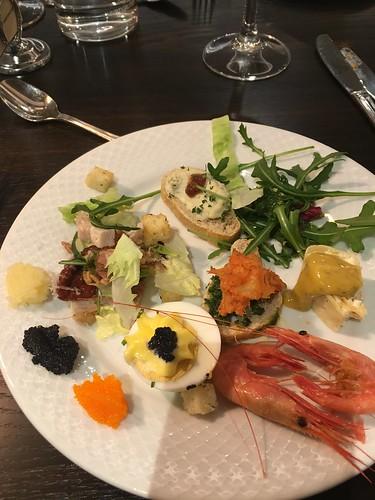 2 Mar - Buffet dinner spread. Notice the caviers?