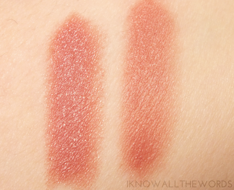 smashbox be legendary lipstick in audition and insta-matte swatch