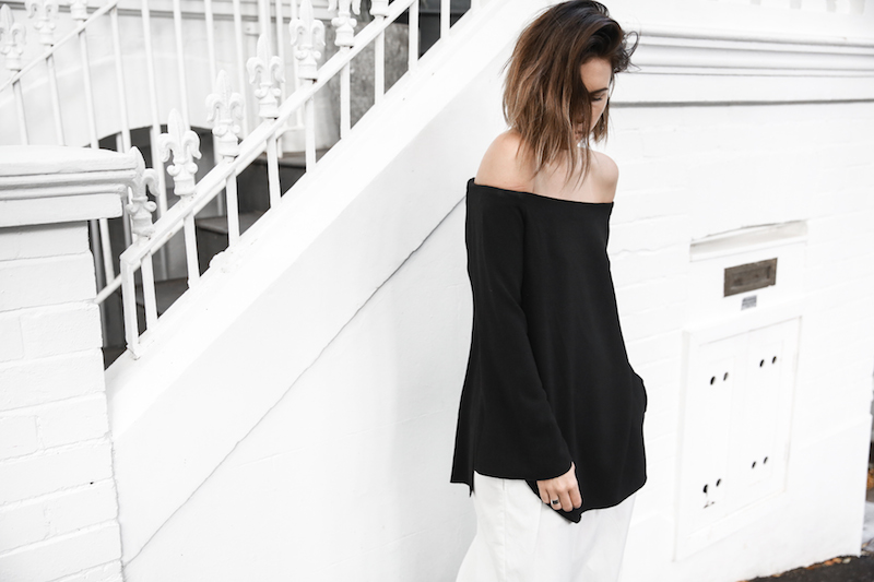off shoulder top Ellery Queenie monochrome street style inspo black white Bassike pants ATP Rosa sandals Givenchy clutch resort off duty (4 of 4)