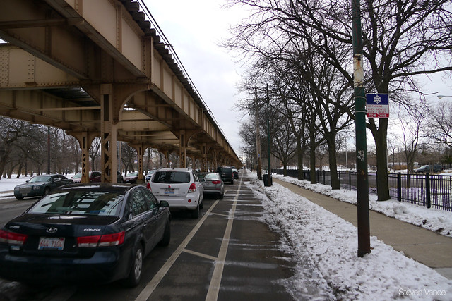 Lake Street protected bike lane was perfectly cleared of snow