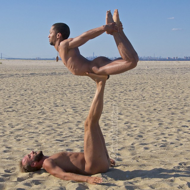 naturist acro-yoga 0003 Gunnison Beach, Sandy Hook, NJ, USA