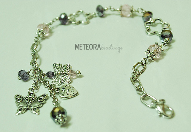 Bracelet - purple and pink beads, with silver chain and connectors and silver butterfly charms