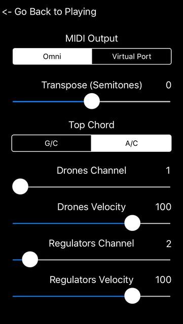 MIDIRegs settings