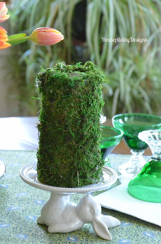 Moss Covered Candle on Pottery Barn Bunny Dessert Plate - Housepitality Designs