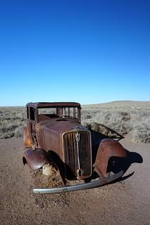 1932 Studebaker on abandoned Route 66 Roadway, Petrified Forest National Park, Arizona