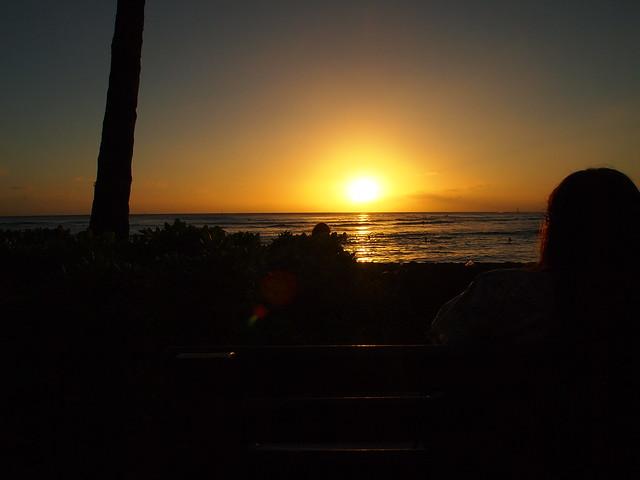 PB290634 ハワイ ワイキキビーチ サンセット hawaii waikiki beach sunset ひめごと ヒメゴト