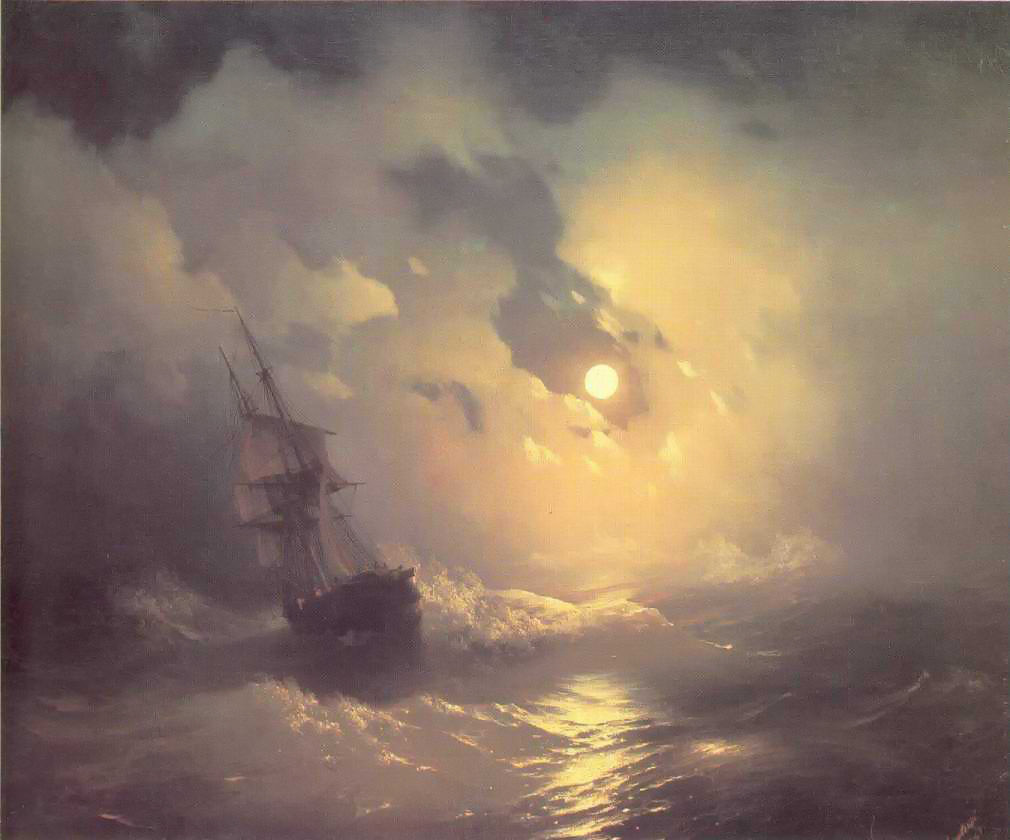 Tempest on the sea at night by Ivan Aivazovsky, 1849