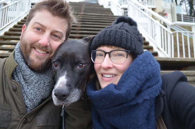 Family photo with Bailey dog on steps of Sellin Pier on Rügen