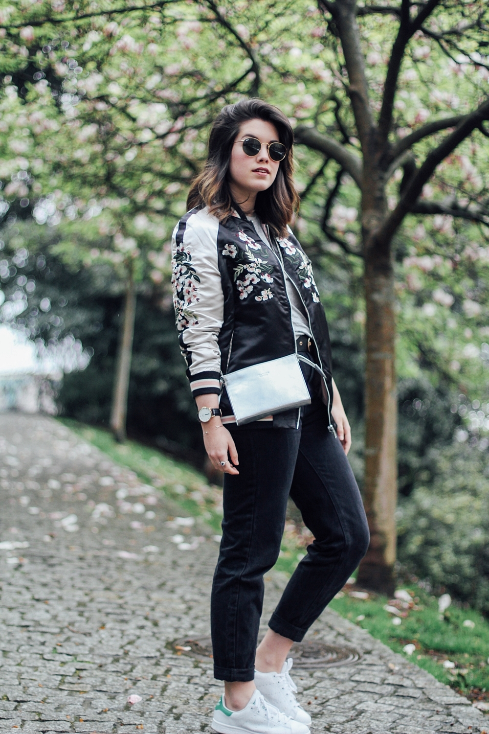 Reversible bomber jacket with embroidery detail with stan smith adidas and mom jeans how to wear