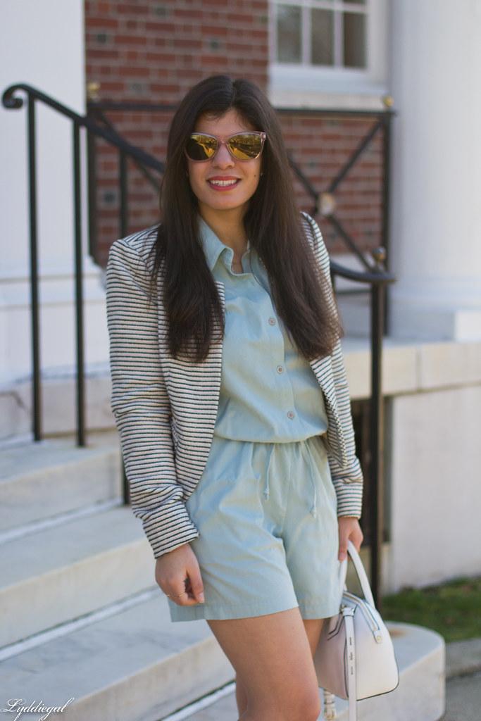 mint romper, striped blazer, lace up flats, white bag-4.jpg